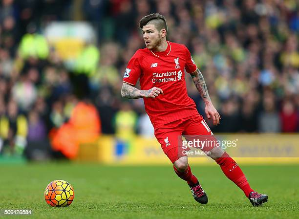 Alberto Moreno of Liverpool in action during the Barclays Premier League match between Norwich City and Liverpool at Carrow Road on January 23 2016...