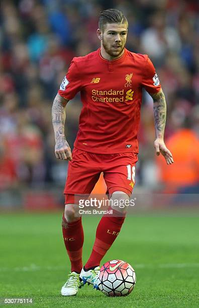 Alberto Moreno of Liverpool in action during the Barclays Premier League match between Liverpool and Chelsea at Anfield on May 11 2016 in Liverpool...