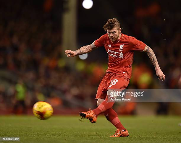 Alberto Moreno of Liverpool in action during the Capital One Cup Semi Final Second Leg between Liverpool and Stoke City at Anfield on January 26 2016...