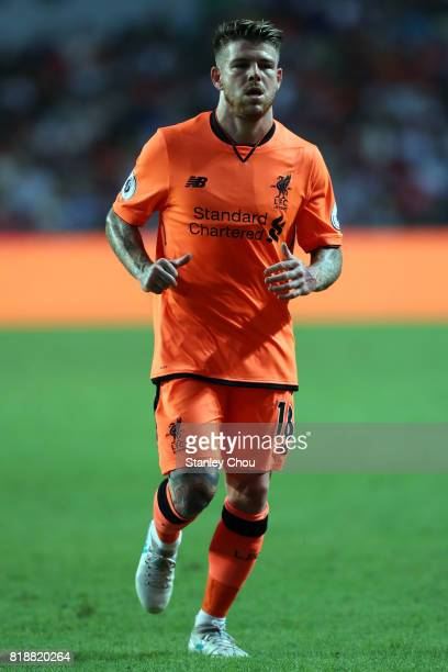 Alberto Moreno of Liverpool in action during the Premier League Asia Trophy match between Liverpool and Crystal Palace at Hong Kong Stadium on July...