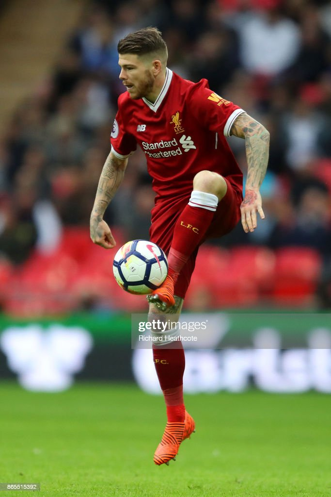 Alberto Moreno of Liverpool in action during the Premier League match between Tottenham Hotspur and Liverpool at Wembley Stadium on October 22 2017...