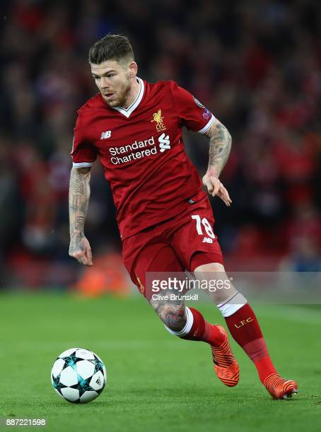 Alberto Moreno of Liverpool in action during the UEFA Champions League group E match between Liverpool FC and Spartak Moskva at Anfield on December 6...