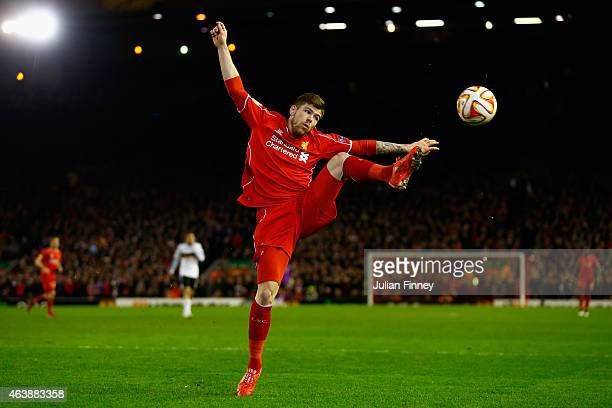 Alberto Moreno of Liverpool in action during the UEFA Europa League Round of 32 match between Liverpool and Besiktas at Anfield on February 19 2015...