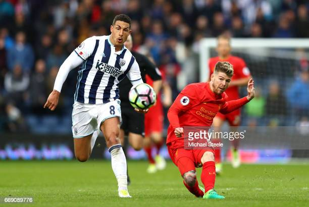 Alberto Moreno of Liverpool misses a chance to score a open goal during the Premier League match between West Bromwich Albion and Liverpool at The...