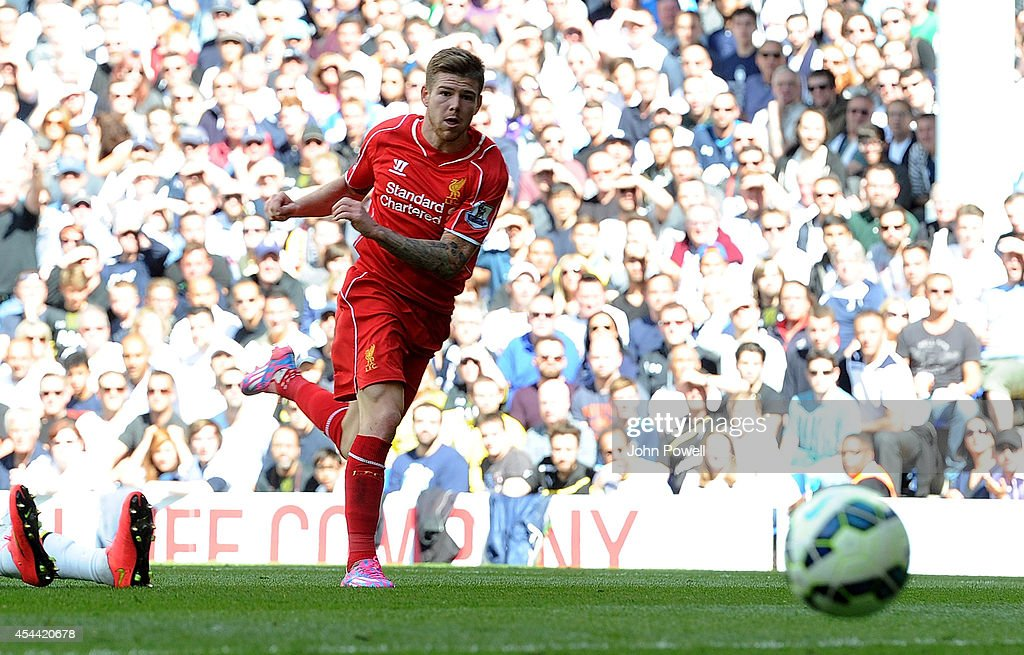 Alberto Moreno of Liverpool scores a goal during the Barclays Premier League match between Tottenham Hotspur and Liverpool at White Hart Lane on August 31, 2014 in London, England.