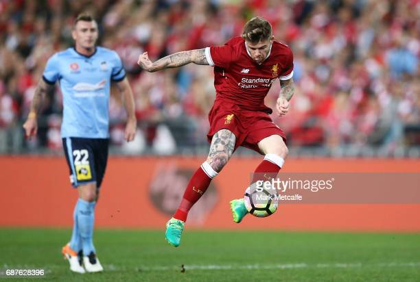 Alberto Moreno of Liverpool scores a goal during the International Friendly match between Sydney FC and Liverpool FC at ANZ Stadium on May 24 2017 in...