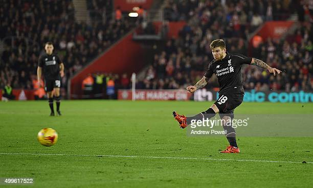 Alberto Moreno of Liverpool scroes the third goal during the Capital One Cup Quarter Final match between Southampton and Liverpool at St Mary's...