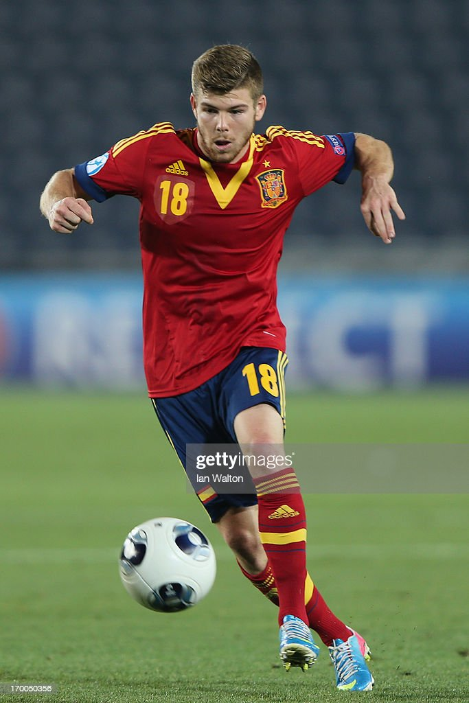 Alberto Moreno of Spain in action during the UEFA European U21 Championships, Group B match between Spain and Russia at Teddy Stadium on June 6, 2013 in Jerusalem, Israel.
