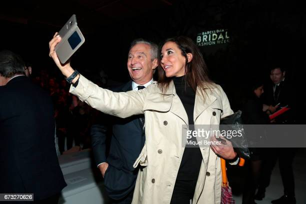 Alberto Palatchi and Elsa Anka taking a selfie wile attend the Studio St Patrick collection during Barcelona Bridal Fashion Week 2017 on April 26...