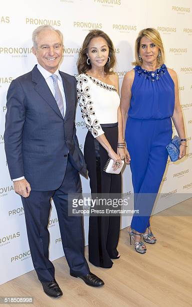 Alberto Palatchi Isabel Preysler and Susana Gallardo attend the opening party of Pronovias Flagship Store on March 31 2016 in Madrid Spain