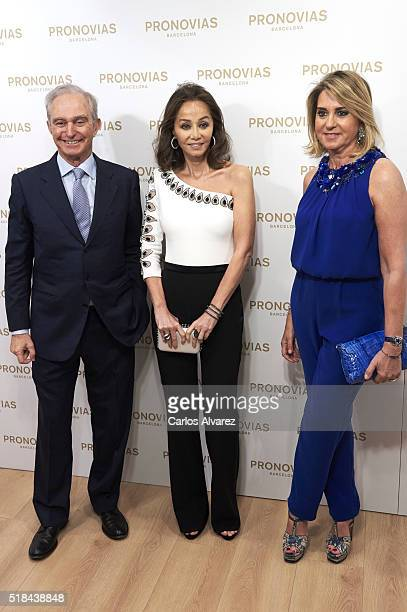 Alberto Palatchi Isabel Preysler and Susana Gallardo inaugurate Pronovias Flagship store on March 31 2016 in Madrid Spain