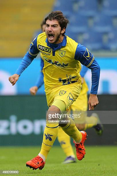 Alberto Paloschi of AC Chievo Verona celebrates after scoring a goal during the Serie A match between Genoa CFC and AC Chievo Verona at Stadio Luigi...