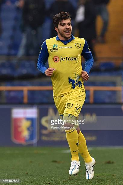 Alberto Paloschi of AC Chievo Verona celebrates after scoring his second goal during the Serie A match between Genoa CFC and AC Chievo Verona at...