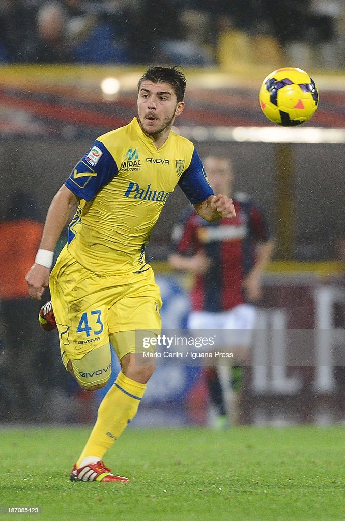 <a gi-track='captionPersonalityLinkClicked' href=/galleries/search?phrase=Alberto+Paloschi&family=editorial&specificpeople=3817495 ng-click='$event.stopPropagation()'>Alberto Paloschi</a> # 43 of AC Chievo Verona in action during the Serie A match between Bologna FC and AC Chievo Verona at Stadio Renato Dall'Ara on November 4, 2013 in Bologna, Italy.