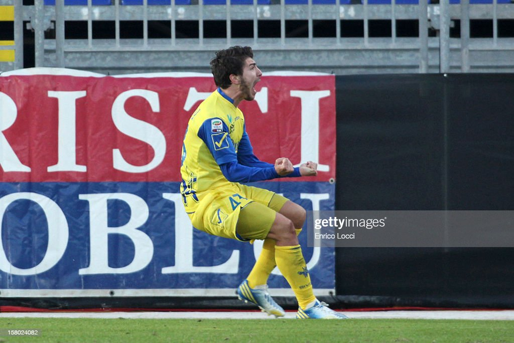 Alberto Paloschi of Chievo celebraies after scoring the opening goal during the Serie A between Cagliari Calcio and AC Chievo Verona at Stadio Sant'Elia on December 9, 2012 in Cagliari, Italy.