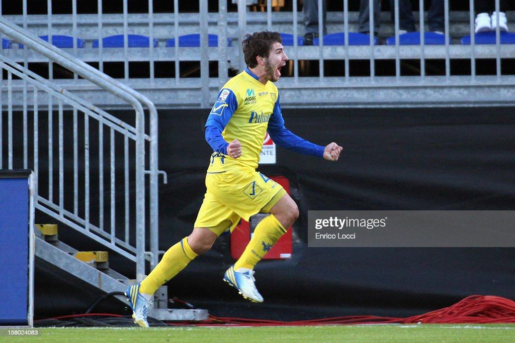 Alberto Paloschi of Chievo celebraties after scoring a goal during the Serie A between Cagliari Calcio and AC Chievo Verona at Stadio Sant'Elia on December 9, 2012 in Cagliari, Italy.