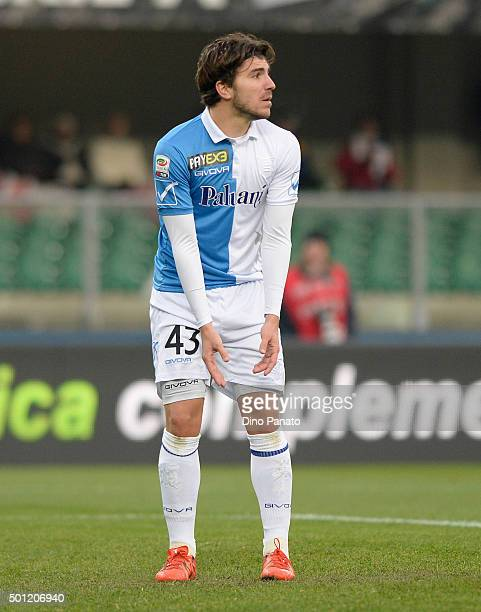 Alberto Paloschi of Chievo Veronai reacts during the Serie A match between AC Chievo Verona and Atalanta BC at Stadio Marc'Antonio Bentegodi on...