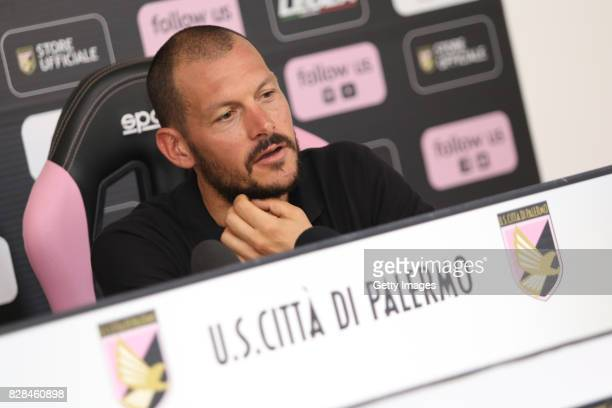 Alberto Pomini answers questions during his presentation as new player of US Citta' di Palermo at Campo Tenente Onorato on August 9 2017 in Palermo...
