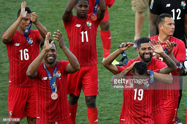 Alberto Quintero of Panama and teammates celebrate after defeating the United States during the CONCACAF Gold Cup Third Place Match at PPL Park on...