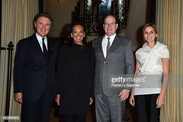 Alberto Repossi Angela Repossi Prince Albert II of Monaco and Creative director of the Italian jewellery brand Repossi Gaia Repossi pose as they...