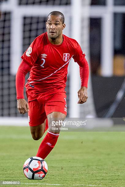 Alberto Rodríguez of Peru drives the ball during a group B match between Brazil and Peru at Gillette Stadium as part of Copa America Centenario US...