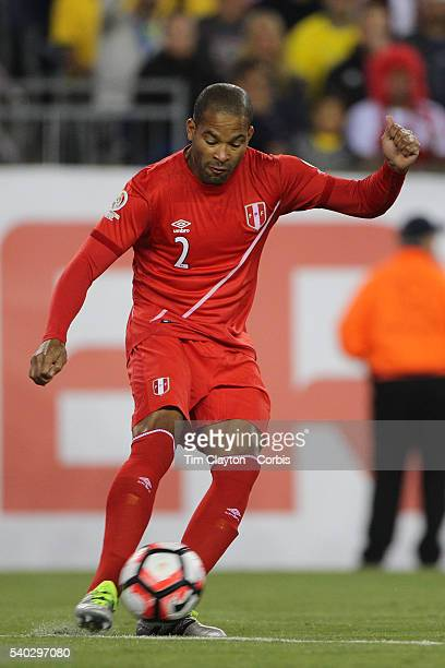 Alberto Rodriguez of Peru in action during the Brazil Vs Peru Group B match of the Copa America Centenario USA 2016 Tournament at Gillette Stadium on...