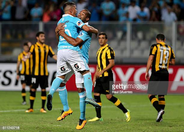 Alberto Rodriguez of Sporting Cristal celebrates the first goal of his team against Penarol during a group 4 match between Sporting Cristal and...