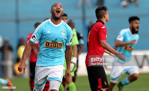 Alberto Rodriguez of Sporting Cristal celebrates the second goal of his team against FBC Melgar during a match between Sporting Cristal v FBC Melgar...
