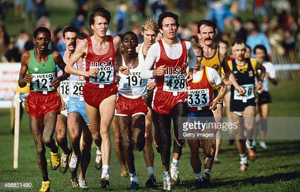 Alberto Salazar leads a group of runners during the IAAF World Cross Country Championships at Riverside park on March 20 in Gateshead England