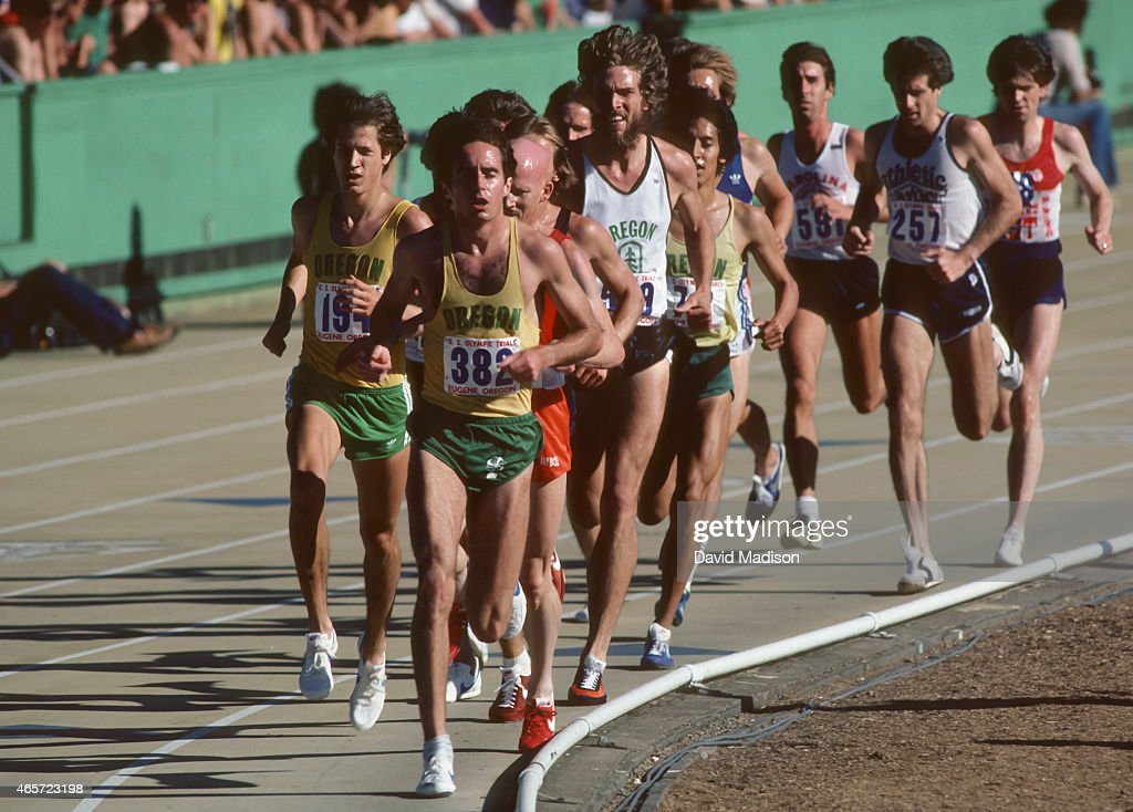 <a gi-track='captionPersonalityLinkClicked' href=/galleries/search?phrase=Alberto+Salazar&family=editorial&specificpeople=3459884 ng-click='$event.stopPropagation()'>Alberto Salazar</a> #382 runs in a qualifying heat of the Men's 5000 meter event of the 1980 USA Track and Field Olympic Trials held on June 27, 1980 at Hayward Field on the campus of the University of Oregon in Eugene, Oregon.