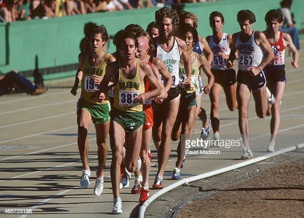 Alberto Salazar runs in a qualifying heat of the Men's 5000 meter event of the 1980 USA Track and Field Olympic Trials held on June 27 1980 at...