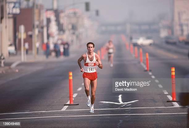 Alberto Salazar runs the Golden Empire Marathon held in November 1983 in Bakersfield California