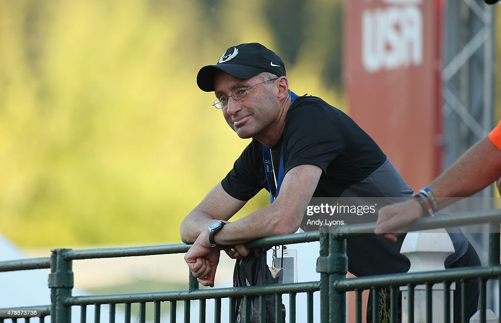 <a gi-track='captionPersonalityLinkClicked' href=/galleries/search?phrase=Alberto+Salazar&family=editorial&specificpeople=3459884 ng-click='$event.stopPropagation()'>Alberto Salazar</a> the coach of Galen Rupp watches the Mens 10,000 Meter during day one of the 2015 USA Outdoor Track & Field Championships at Hayward Field on June 25, 2015 in Eugene, Oregon.