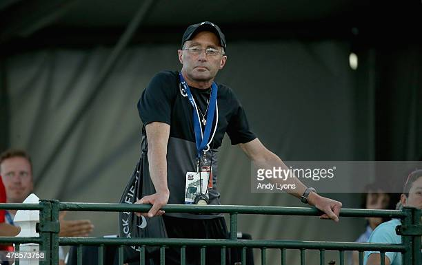 Alberto Salazar the coach of Galen Rupp watches the Mens 10000 Meter during day one of the 2015 USA Outdoor Track Field Championships at Hayward...