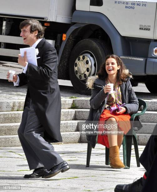 Alberto San Juan and Marta Torne are seen on the set filming 'Gran Reserva' on April 9 2013 in Madrid Spain