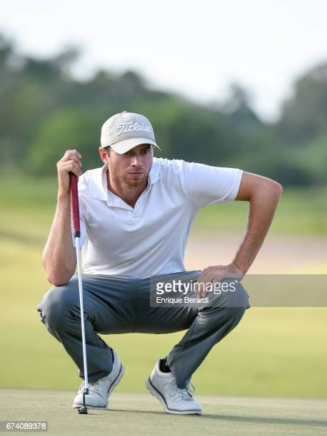 Alberto Sanchez of the United States lines up a putt on the ninth green during the second round of the PGA TOUR Latinoamérica Honduras Open presented...