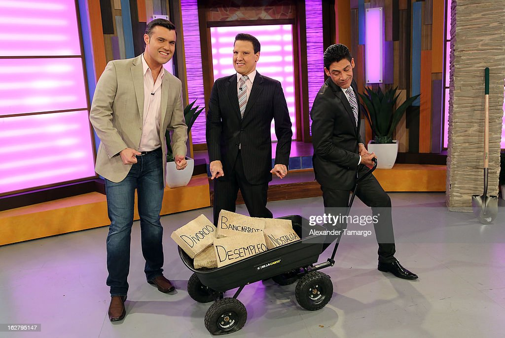 Alberto Sardina, Raul Gonzalez and Johnny Lozada appear on Univision's Despierta America to promote her film 'The Call' at Univision Headquarters on February 27, 2013 in Miami, Florida.