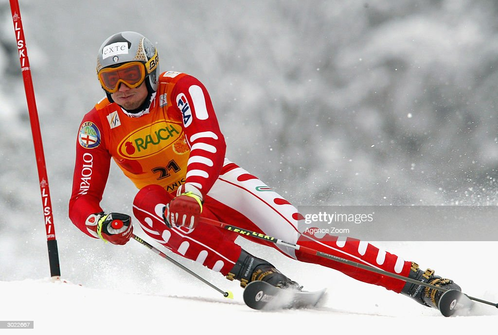 Alberto Schieppati of Italy on his way to second place during the FIS Alpine Ski World Cup Men's Giant Slalom on February 28, 2004 in Kranjska Gora, Slovenia.