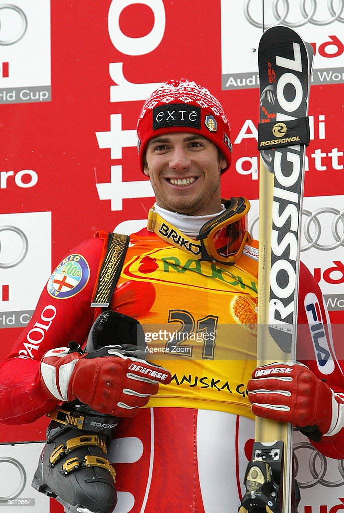 Alberto Schieppati of Italy second place on the podium after the FIS Alpine Ski World Cup Men's Giant Slalom on February 28, 2004 in Kranjska Gora, Slovenia.