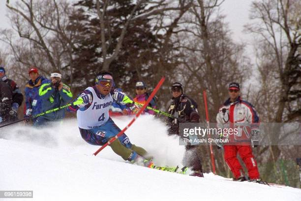 Alberto Tomba of Italy competes in the Men's Giant Slalom during day one of the FIS Alpine Skiing World Cup at Furano Ski Resort on February 19 1995...