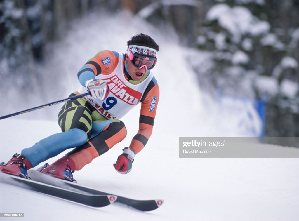 Alberto Tomba #9 of Italy skis in the Giant Slalom event of the FIS Alpine World Ski Championships on February 9, 1989 in Vail, Colorado.