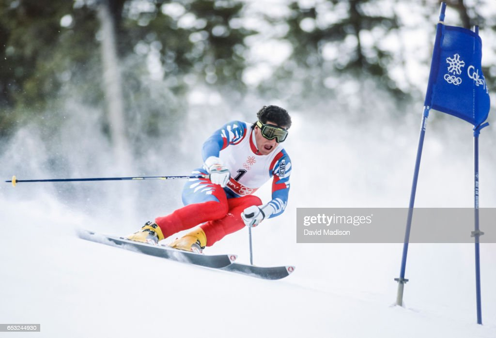 Alberto Tomba #1 of Italy skis to a gold medal in the Giant Slalom event of the Alpine Skiing Competition of the Winter Olympic Games on February 25, 1988 at the Nakiska ski area near Calgary, Canada.