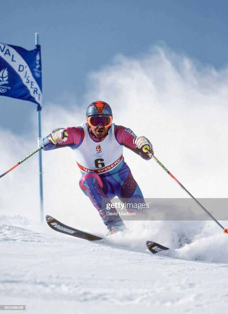 Alberto Tomba #6 of Italy skis to a gold medal in the Giant Slalom skiing event of the 1992 Winter Olympic Games on February 18, 1992 at Val d'Isere near Albertville, France.
