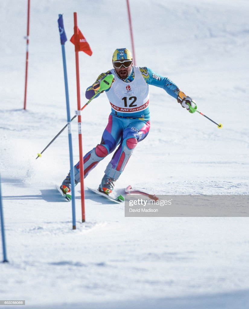 Alberto Tomba #6 of Italy skis to a silver medal in the Slalom skiing event of the 1992 Winter Olympic Games on February 18, 1992 at Les Menuires near Albertville, France.