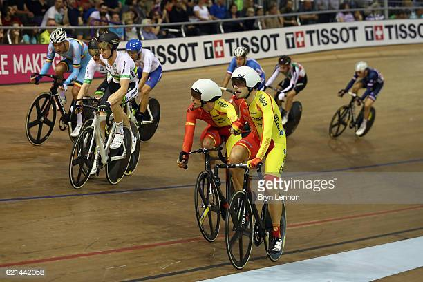 Alberto Torres and team mate Sebastián Mora Vedri of Spain celebrate winning the Men's Madison on day three of the UCI Track Cycling World Cup at the...