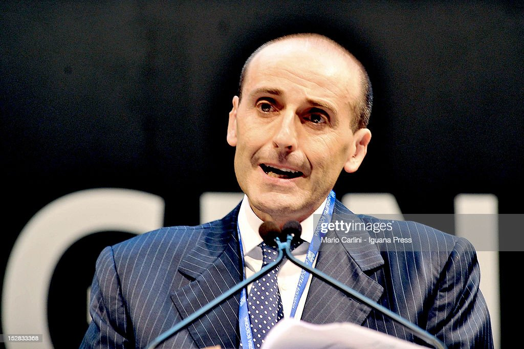 Alberto Vacchi president of Unindustria hold his speech during the Annual Unindustria Assembly at Unipol Arena on September 17 2012 in Bologna Italy