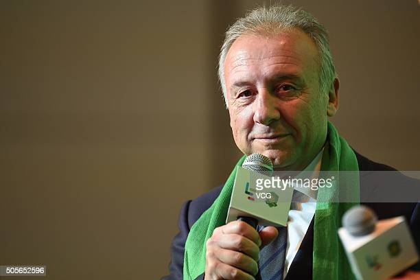 Alberto Zaccheroni head coach of Beijing Guoan attends a press conference on January 19 2016 in Beijing China