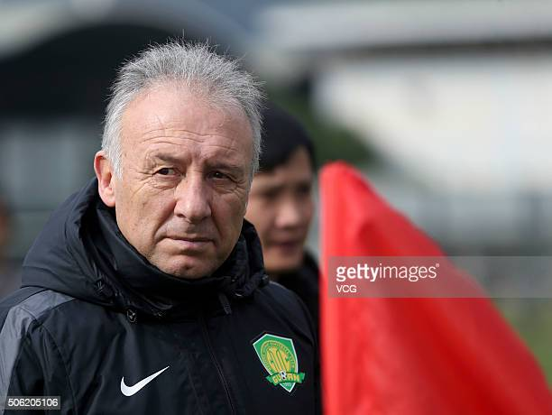 Alberto Zaccheroni head coach of Beijing Guoan takes part in a training session on January 21 2016 in Kunming China
