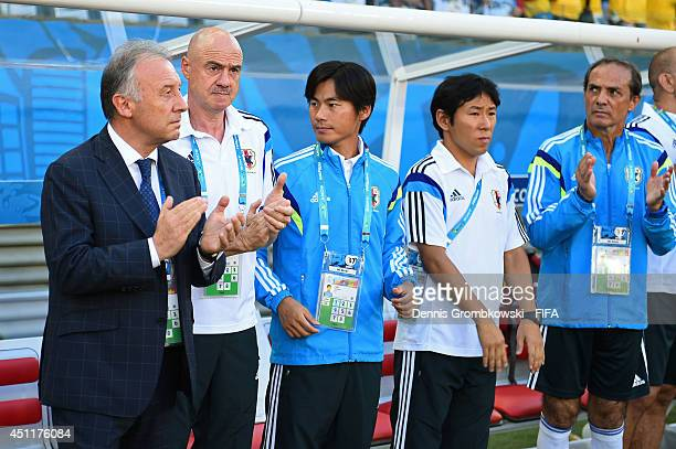 Alberto Zaccheroni of Japan claps prior to the 2014 FIFA World Cup Brazil Group C match between Japan and Colombia at Arena Pantanal on June 24 2014...