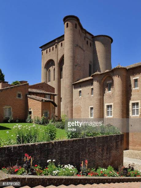 Albi Palais de la Berbie former Bishop's Palace now housing the ToulouseLautrec Museum with its French formal gardens under the blue sky Listed as a...